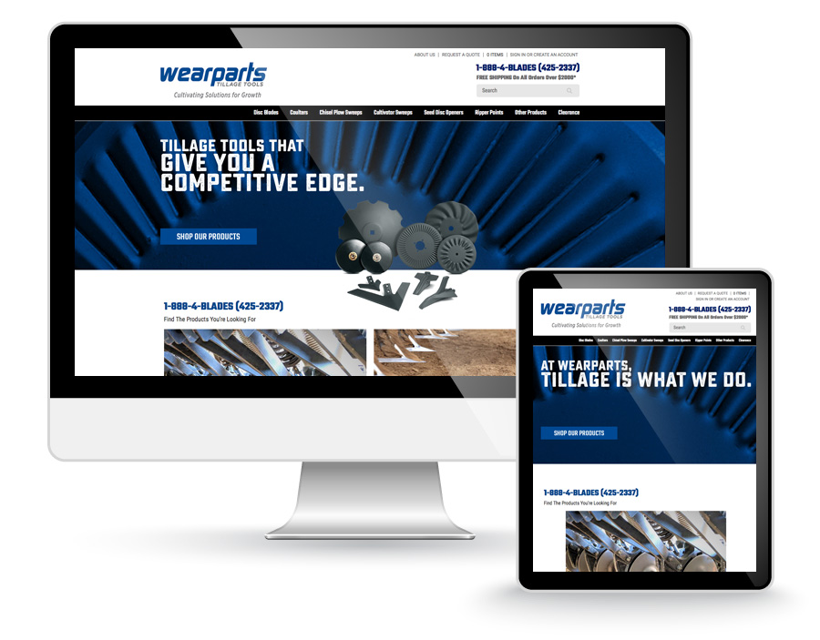 Wearparts website design
